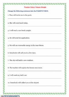 Interactive worksheet Passive Voice- Future Simple