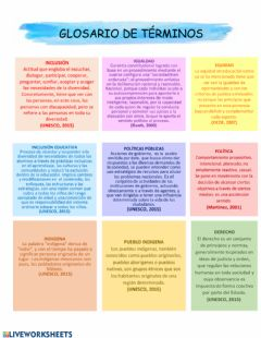 Interactive worksheet Politicas indigena