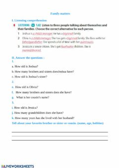 Interactive worksheet Family matters