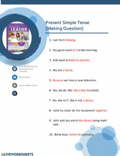 Interactive worksheet Questions of present simple