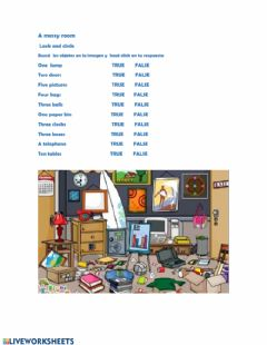 Interactive worksheet A messy room