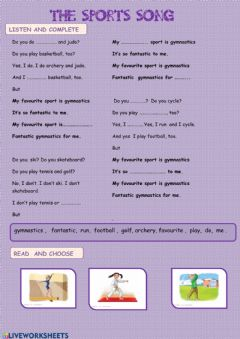 Interactive worksheet The sports song