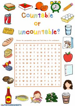 Ficha interactiva Countable or uncountable nouns
