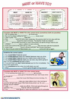 Interactive worksheet Must or Have to