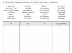 Ficha interactiva Prepositions of time IN ON AT