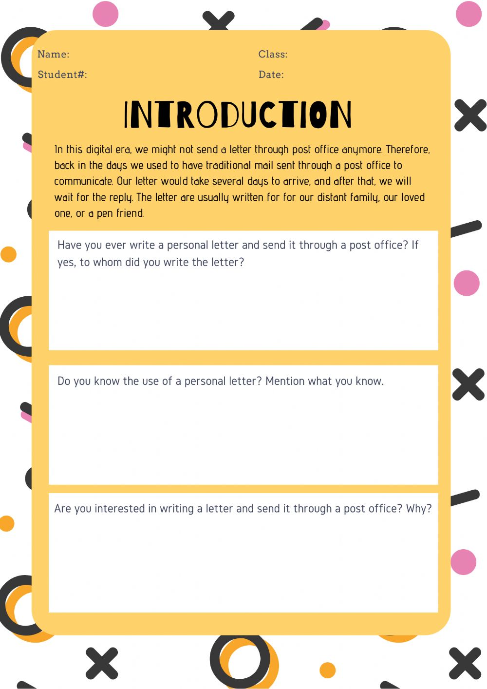 Personal Letter Of Introduction from files.liveworksheets.com
