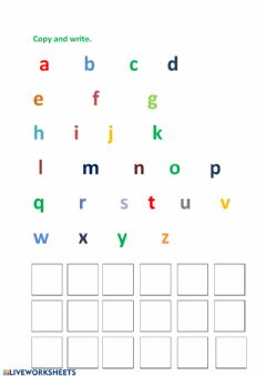 Interactive worksheet Alphabets