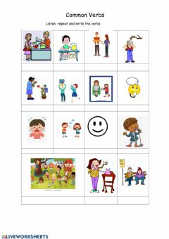 Interactive worksheet Common verbs