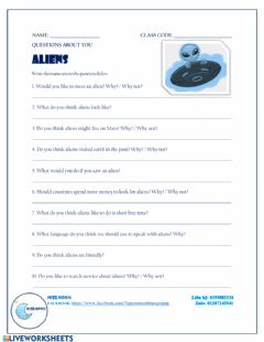 Interactive worksheet Aliens - life on other planets