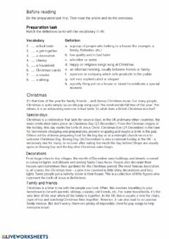 Interactive worksheet Christmas. Reading comprehension