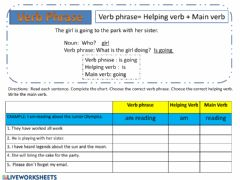 Interactive worksheet Verb Phrase