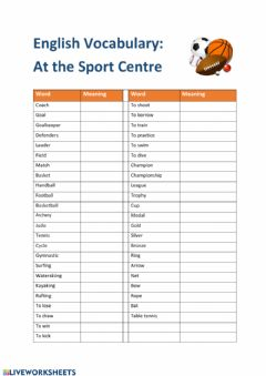 Ficha interactiva English Vocabulary: at the Sport Centre