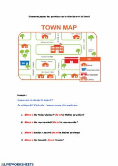 Interactive worksheet Prepositions du directions et lieux