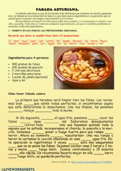Interactive worksheet Fabada asturiana