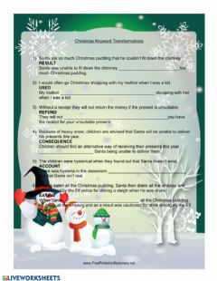 Ficha interactiva Christmas CAE Use of English Part 4 Keyword Transformations