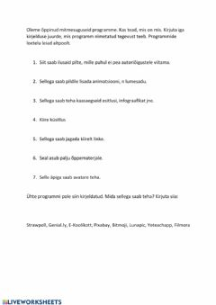Interactive worksheet E-õppe nädalad