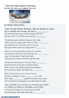 Interactive worksheet 'Twas the night before Christmas
