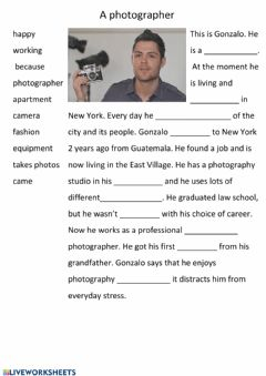 Interactive worksheet A photographer
