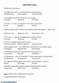 Interactive worksheet Christmas Carol - vocabulary