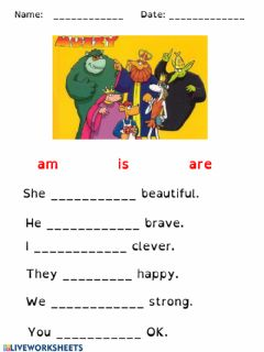 Interactive worksheet Am, is, are