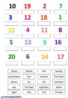 Interactive worksheet Numbers 1-20