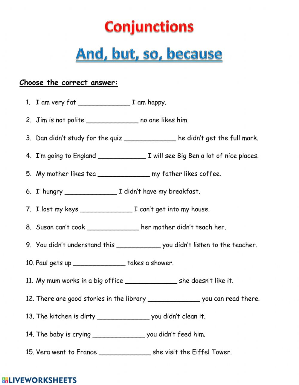 Conjunctions And But So Because Worksheet