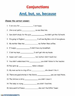 Interactive worksheet Conjunctions and but so because