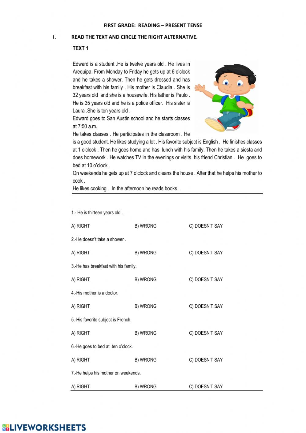 - Reading -beginners: Reading Comprehension Worksheet