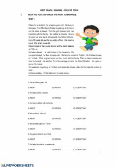 Interactive worksheet Reading -beginners