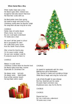 Interactive worksheet When Santa was a boy