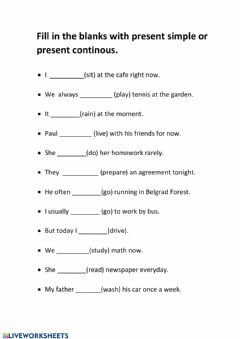 Interactive worksheet Present Continous and Present Simple Differences