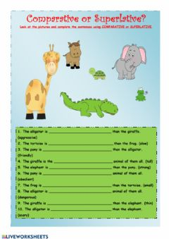 Interactive worksheet Comparatives-superlatives activities