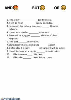 Interactive worksheet And But Or