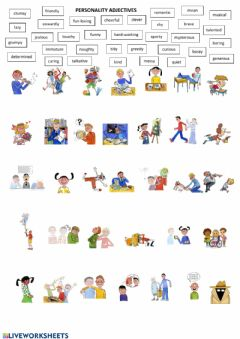 Interactive worksheet PERSONALITY (adjectives)