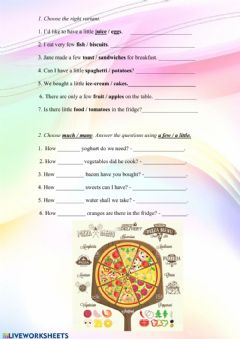 Ficha interactiva Food: pizza toppings