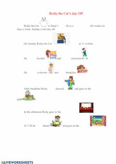 Interactive worksheet Richy the Cat's Day Off