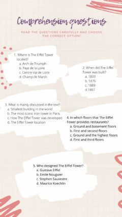 Interactive worksheet Comprehension questions