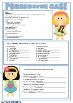 Ficha interactiva Nouns in Possessive case