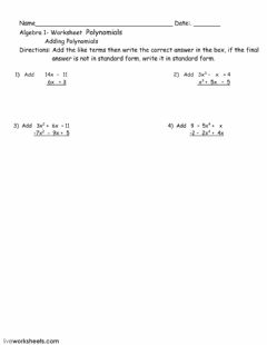 Interactive worksheet Polynomial worksheet