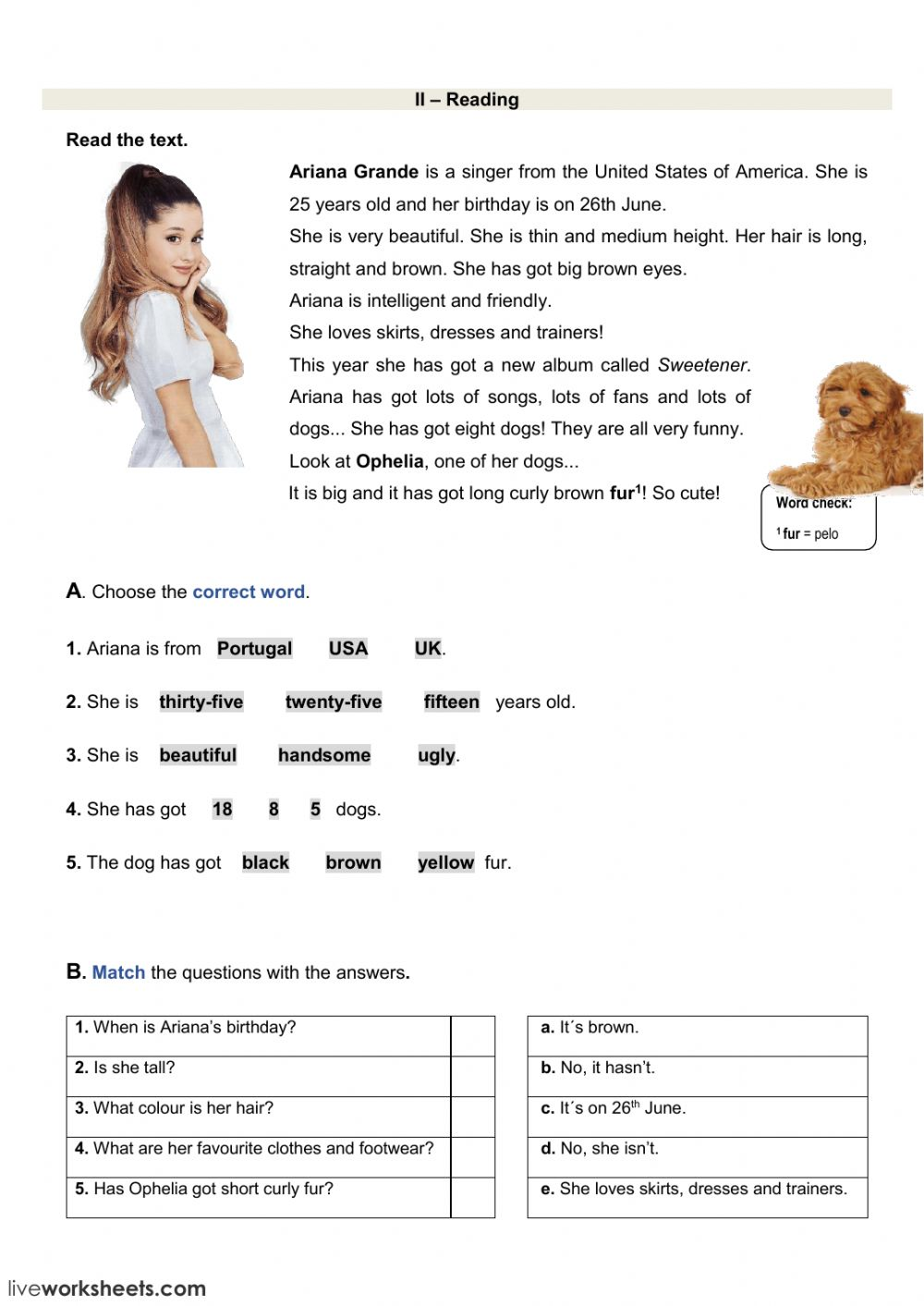 - Reading Test - Ariana Grande - Interactive Worksheet