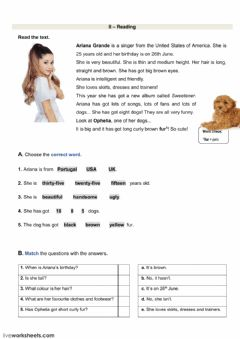 Ficha interactiva Reading test - Ariana Grande