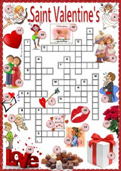 Interactive worksheet St. Valentine's crossword