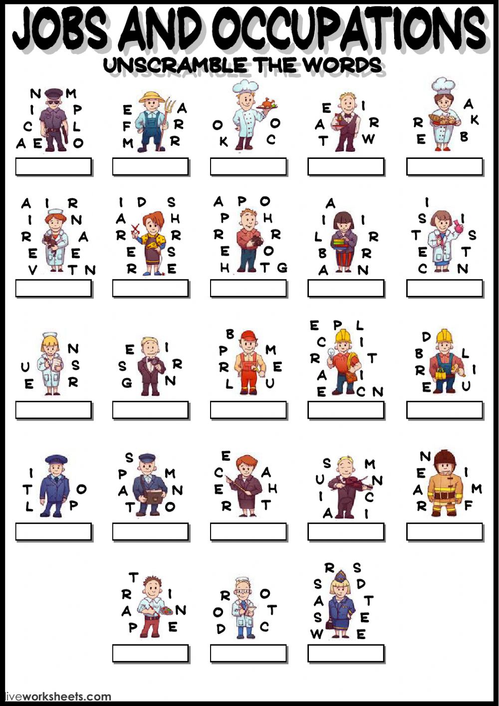 Jobs and occupations - unscramble - Interactive worksheet