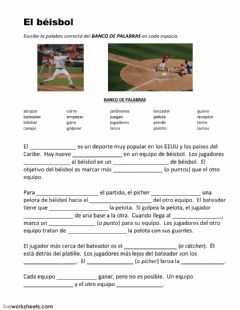 Interactive worksheet El béisbol