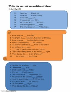 Interactive worksheet Time preposition