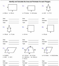 Interactive worksheet Areas and Perimeters of Polygons