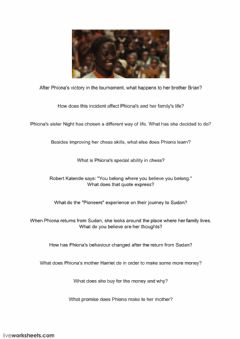 Interactive worksheet Queen of Katwe - Questions Pt 2