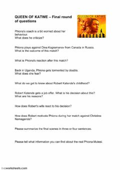 Interactive worksheet Queen of Katwe - final round of questions