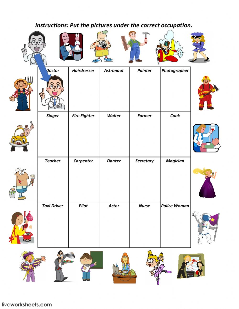 Occupations: Jobs and occupations worksheet
