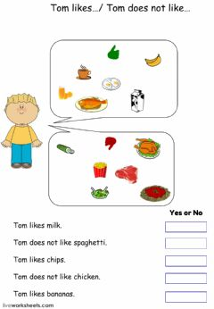 Interactive worksheet Food Likes and Dislikes
